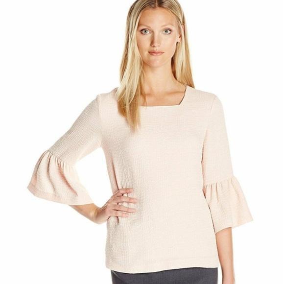 Calvin Klein Tops - Calvin Klein Blush Ruffle Sleeves Square Neckline